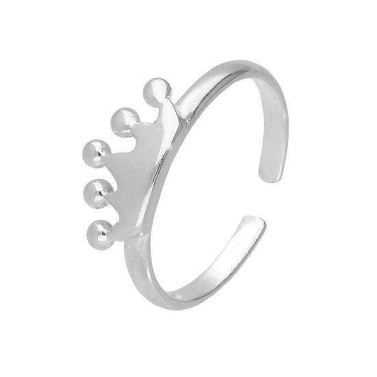 Sterling Silver Royal Crown Adjustable Toe Ring