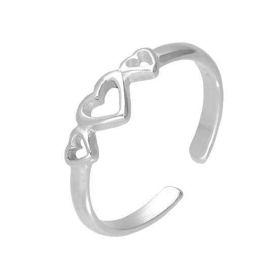 Sterling Silver Triple Hearts Adjustable Toe Ring