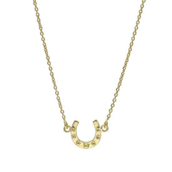 Gold Plated Sterling Silver Lucky Horseshoe Necklace