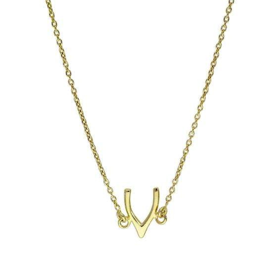 Gold Plated Sterling Silver Wishbone Necklace