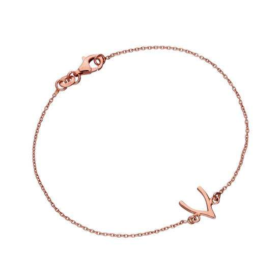 Rose Gold Plated Sterling Silver Wishbone 7 Inch Bracelet