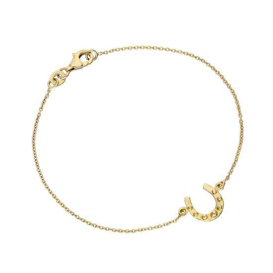 Gold Plated Sterling Silver Lucky Horseshoe 7 Inch Bracelet