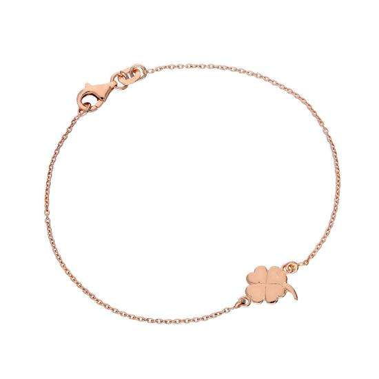 Rose Gold Plated Sterling Silver Four Leaf Clover 7 Inch Bracelet