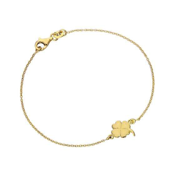 Gold Plated Sterling Silver Four Leaf Clover 7 Inch Bracelet