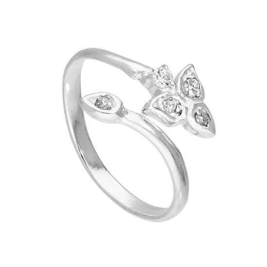Sterling Silver & Clear CZ Crystal Floral Toe Ring