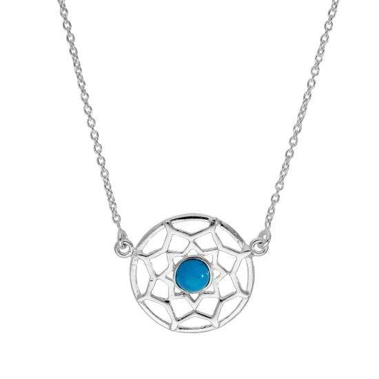 Sterling Silver & Blue Enamel Dreamcatcher Necklace w 18 Inch Chain