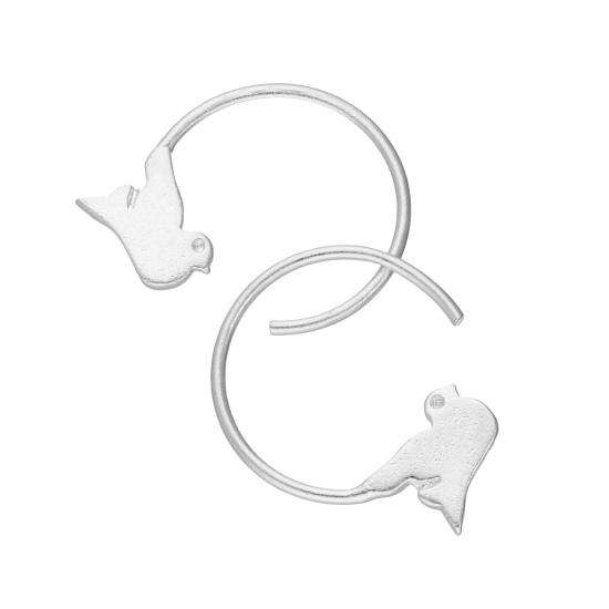 Sterling Silver Flying Bird Pull Through Earrings