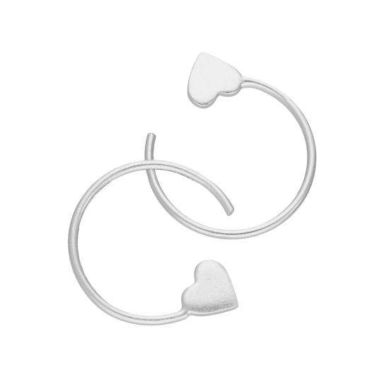 Sterling Silver Heart Pull Through Earrings
