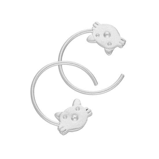 Sterling Silver Cats Head Pull Through Earrings