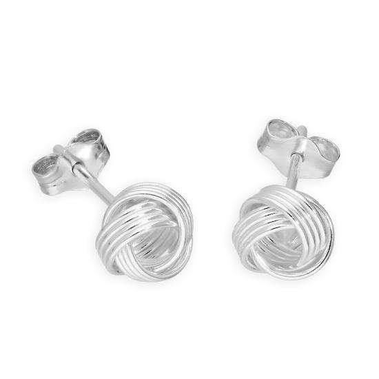 Sterling Silver 6mm Knot Stud Earrings