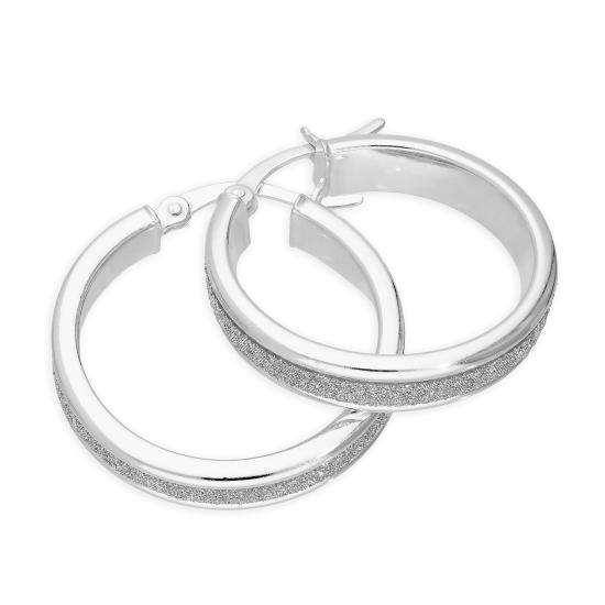 Sterling Silver Frosted Hoop Earrings