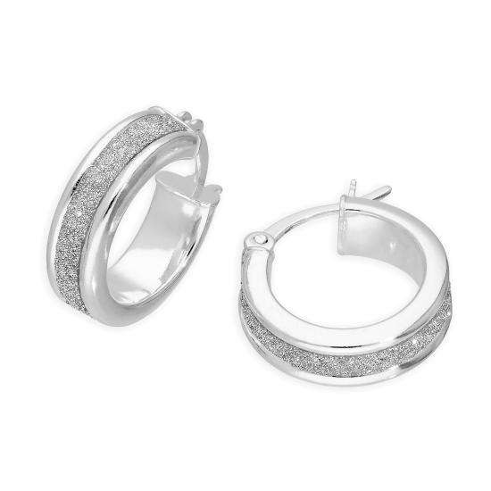 Small Sterling Silver Frosted Hoop Earrings