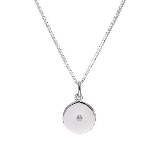 Sterling Silver & Clear CZ Crystal Round Pendant Necklace 14 - 22 Inches
