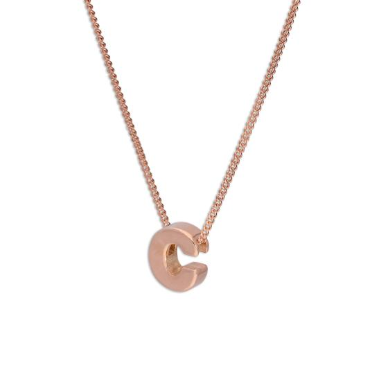 Rose Gold Plated Sterling Silver Letter C Pendant Necklace 14 - 32 Inches