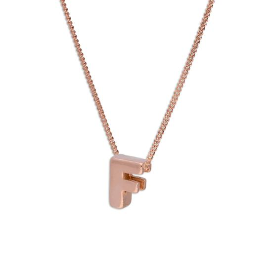 Rose Gold Plated Sterling Silver Letter F Pendant Necklace 14 - 32 Inches