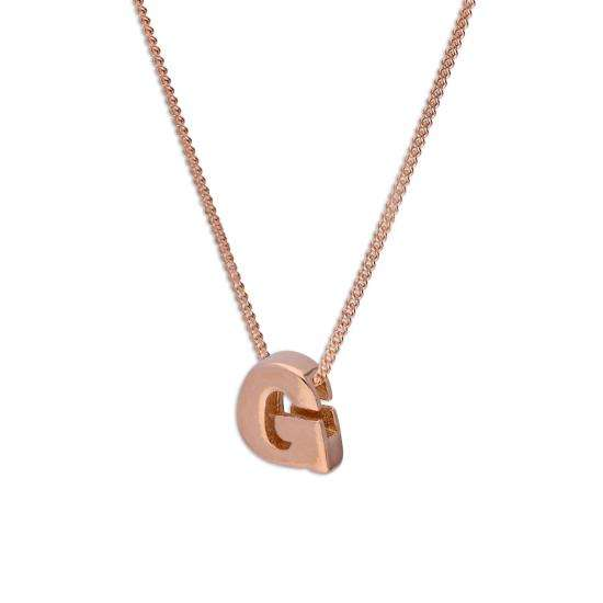 Rose Gold Plated Sterling Silver Letter G Pendant Necklace 14 - 32 Inches