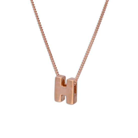 Rose Gold Plated Sterling Silver Letter H Pendant Necklace 14 - 32 Inches