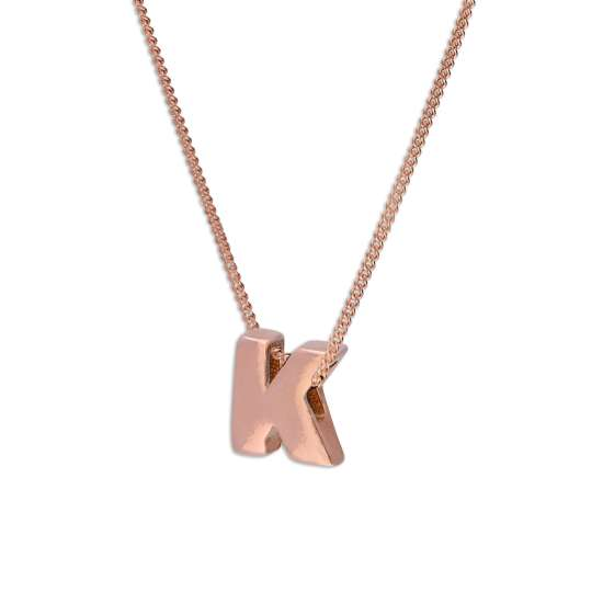Rose Gold Plated Sterling Silver Letter K Pendant Necklace 14 - 32 Inches