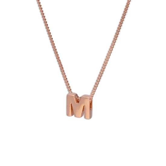 Rose Gold Plated Sterling Silver Letter M Pendant Necklace 14 - 32 Inches