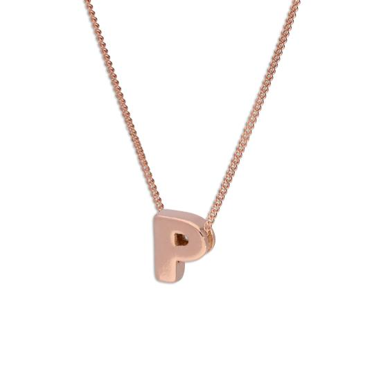Rose Gold Plated Sterling Silver Letter P Pendant Necklace 14 - 32 Inches