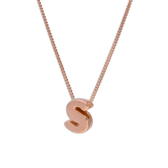 Rose Gold Plated Sterling Silver Letter S Pendant Necklace 14 - 32 Inches