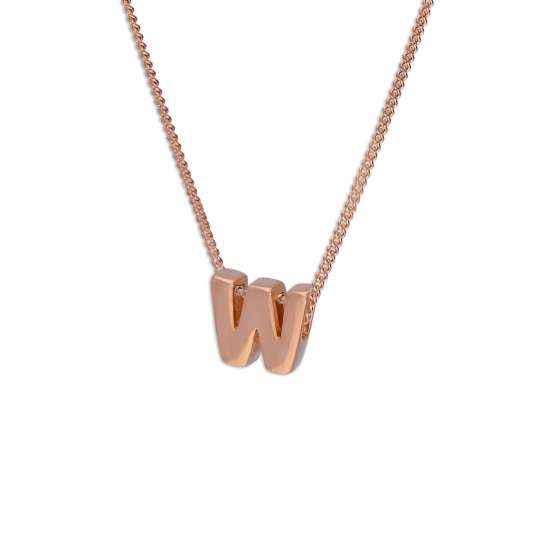 Rose Gold Plated Sterling Silver Letter W Pendant Necklace 14 - 32 Inches