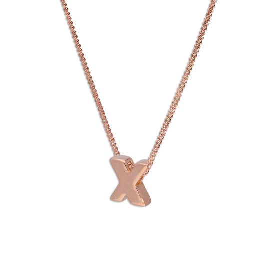 Rose Gold Plated Sterling Silver Letter X Pendant Necklace 14 - 32 Inches