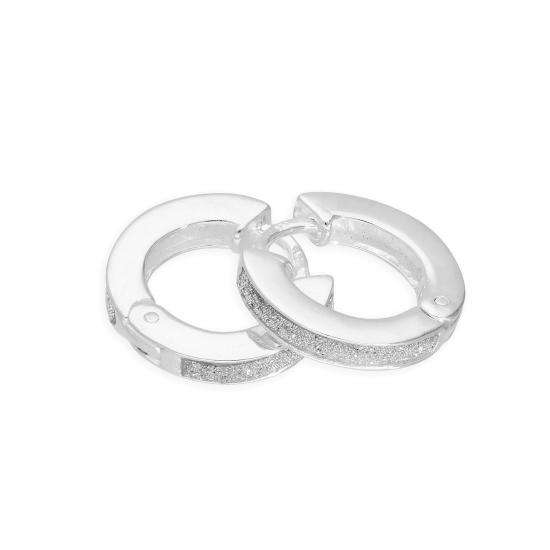 Sterling Silver Frosted Round Huggie Hoop Earrings
