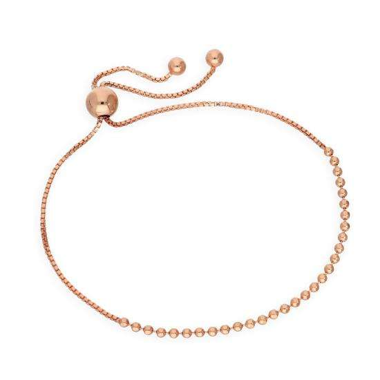 Rose Gold Plated Sterling Silver Adjustable Thin Bead Bracelet