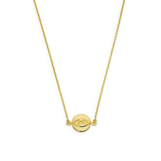 Gold Plated Sterling Silver Evil Eye Pendant on 18 Inch Chain