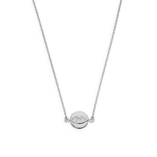 Sterling Silver Evil Eye Pendant on 18 Inch Chain