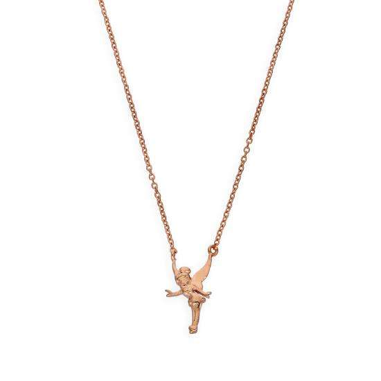 Rose Gold Plated Sterling Silver Fairy Pendant on 18 Inch Chain