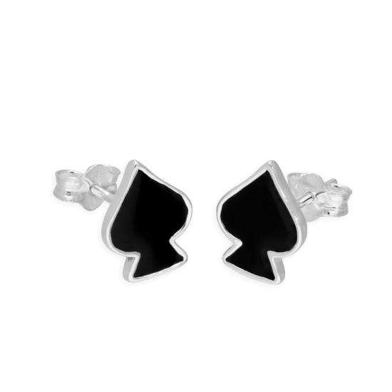 Sterling Silver & Black Enamel Spades Stud Earrings