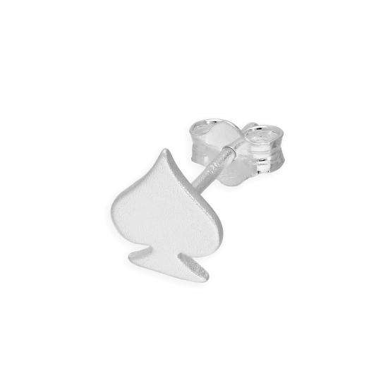 Matt Finish Sterling Silver Spade Mens Single Stud Earring