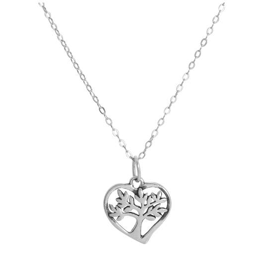 Sterling Silver Tree in Heart Pendant Necklace 14 - 28 Inches