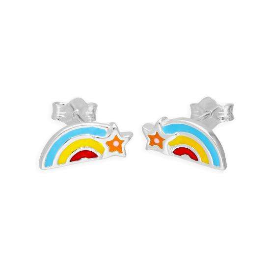 Sterling Silver & Colourful Enamel Rainbow and Star Stud Earrings