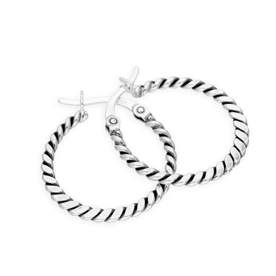 Sterling Silver 21mm Woven Hoop Earrings