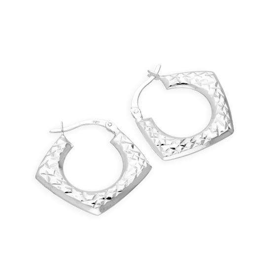 Sterling Silver Diamond Cut Squared Creole Hoop Earrings
