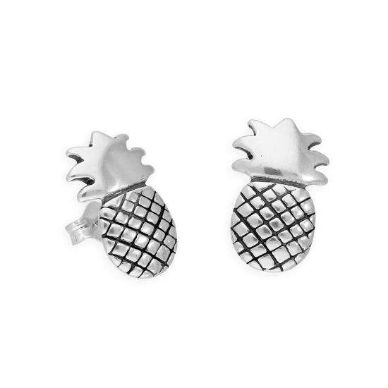 Sterling Silver Large Pineapple Stud Earrings