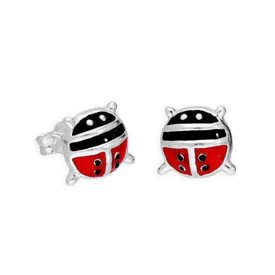 Large Sterling Silver & Coloured Enamel Ladybird Stud Earrings