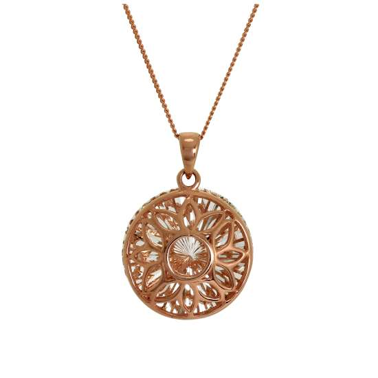 Rose Gold Plated Sterling Silver Diamond Cut Sun Flower Pendant Necklace 14 - 32 Inches