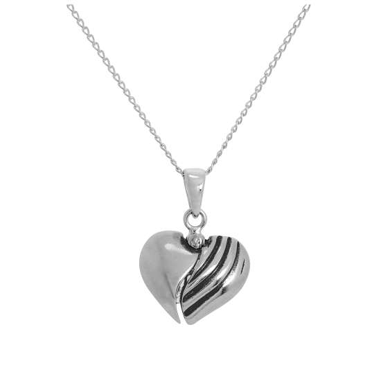 Sterling Silver Opening Heart Pendant with Musical Note Inside on Chain 14 - 32 Inches