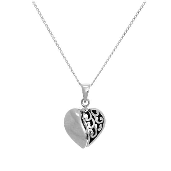 Sterling Silver Opening Heart Pendant with Small Heart Inside on Chain 14 - 22 Inches