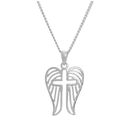Sterling Silver Open Cross & Angel Wings Pendant Necklace 16 - 24 Inches