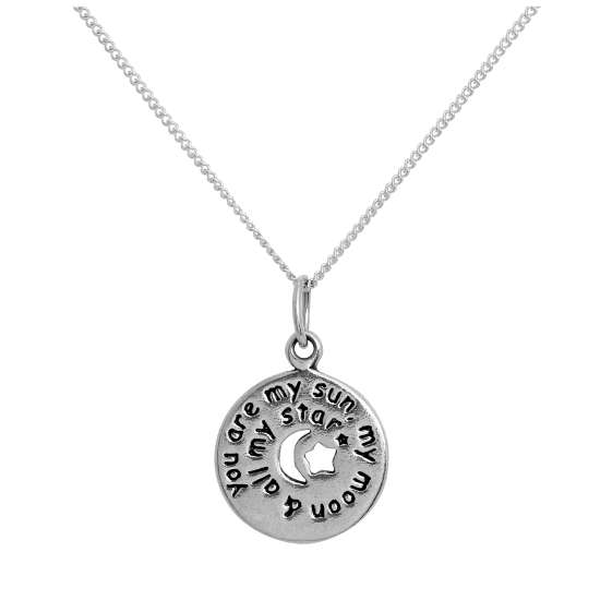 Sterling Silver Round Message Pendant with Cut Out Moon & Stars on Chain 14 - 32 Inches