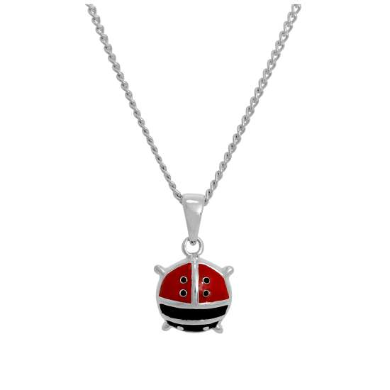 Large Sterling Silver & Coloured Enamel Ladybird Pendant Necklace 16 - 24 Inches