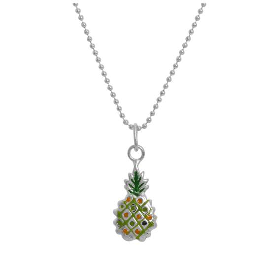 Sterling Silver & Colourful Enamel Pineapple Pendant Necklace 14 - 22 Inches