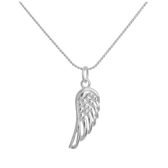 Sterling Silver Angel Wing Pendant Necklace 14 - 28 Inches