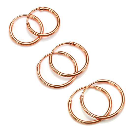 Rose Gold Plated Sterling Silver Lightweight Sleeper Hoop Set