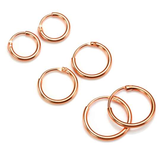 Rose Gold Plated Sterling Silver Lightweight Sleeper Hoops Set